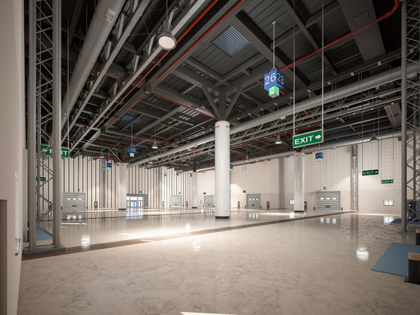 3D model exhibition hall warehouse