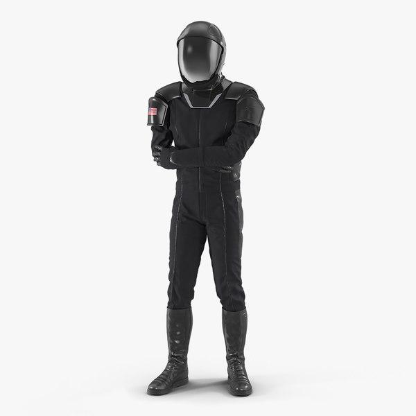 3D sci fi astronaut black model