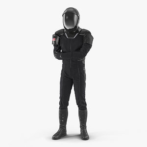 3D sci fi astronaut black model