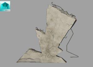 3D model broken wall