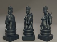 3D black female chess knight