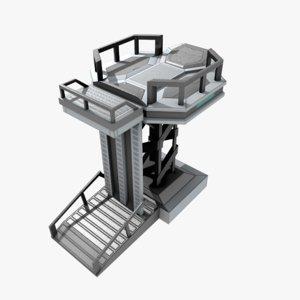 landing spaceship base 3D