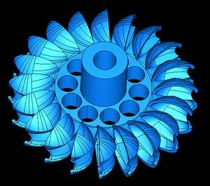 3D hydroelectric pelton turbine