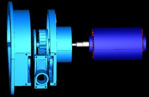 hydroelectric cross-flow station 3D