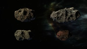 3D pack asteroids model
