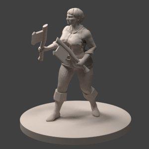 3D dnd miniature dwarf female