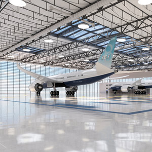 hangar airplane 3D model