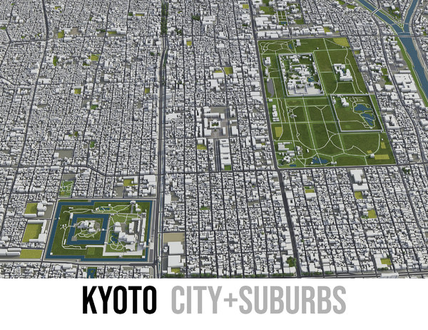 3D city kyoto surrounding - model