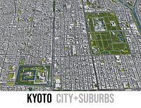 3D city kyoto surrounding - model