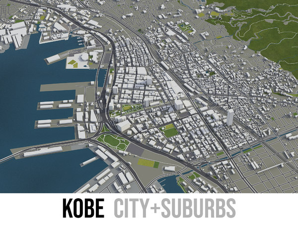 3D city kobe surrounding -