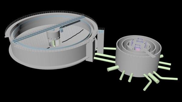 3D sludge secondary clarifier