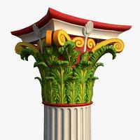 3D corinthian order column polychromy model