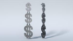 fashion earrings dollar stud 3D