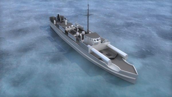 german battleship military boat 3D model