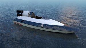 3D speed outboard motor racer