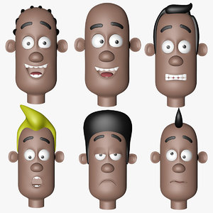 head character different emotions 3D model