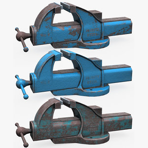 3D model used bench vice