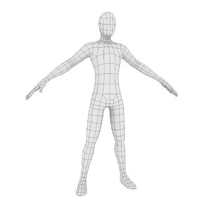 low-poly male base mesh 3D