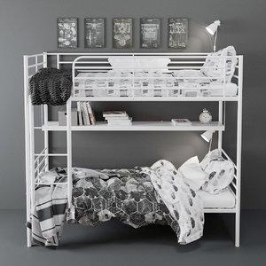 svarta bunk bed 3D