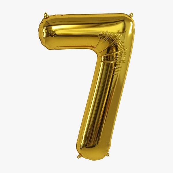 3D balloon foil gold model