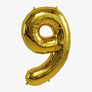 3D model balloon foil gold
