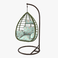 swing wicker rattan chair 3D model