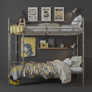 bunk bed industrial steel 3D