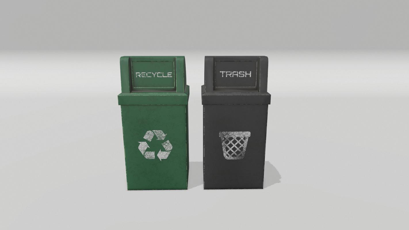 3D trash recycle bin model