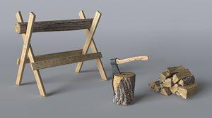 3D model wood axe