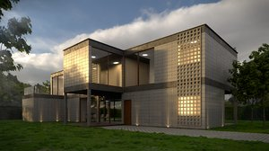 3D beautiful modern house architectural