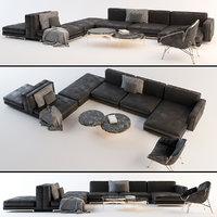 modular leather sofa set 3D model