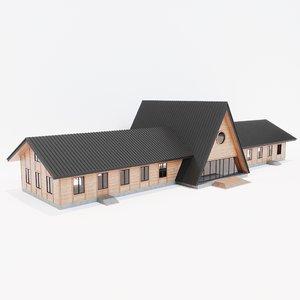 wooden building architecture corona 3D model