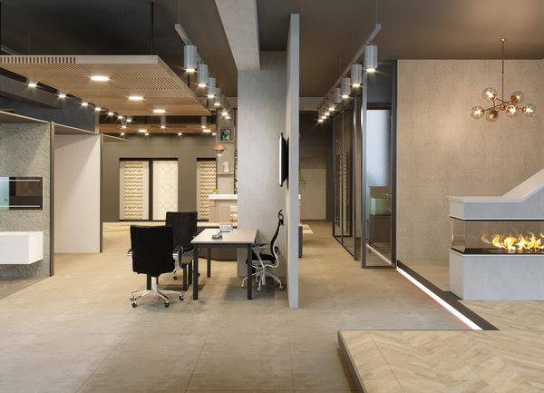 3D showroom interior scene