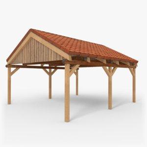 wooden carport saddle roof 3D model
