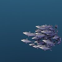Animated School Of Sardine Fishes Swimming Type 2