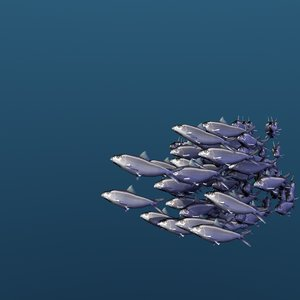 3D school sardine swimming fishes