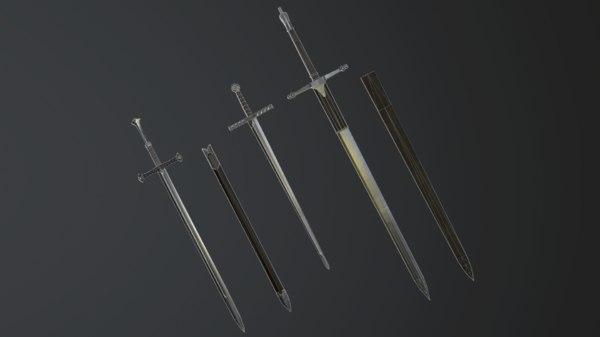 3D sword longsword weapon model