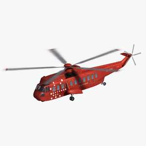 3D model sikorsky s61 civilian helicopter