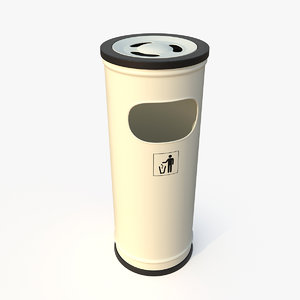 white standing waste bin 3D model