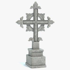 3D model gravestone cross