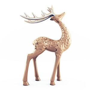 highpoly deer statuettes 3D