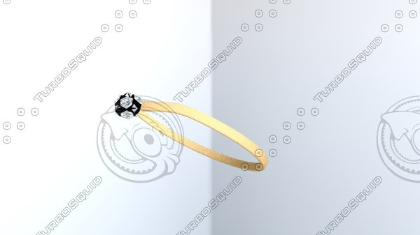 gold ring present box 3D model
