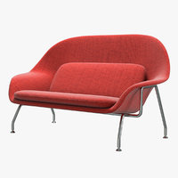 3D knoll saarinen womb sofa model