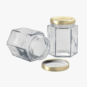 3D hexagonal glass storage jar