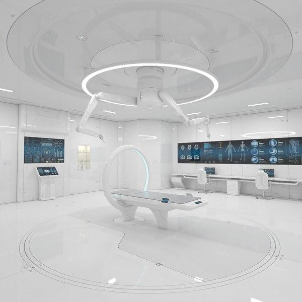 3D model sci-fi laboratory corridor