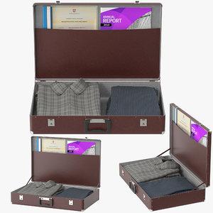 3D suitcase clothes 01