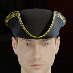3D tricorne cocked hat classic