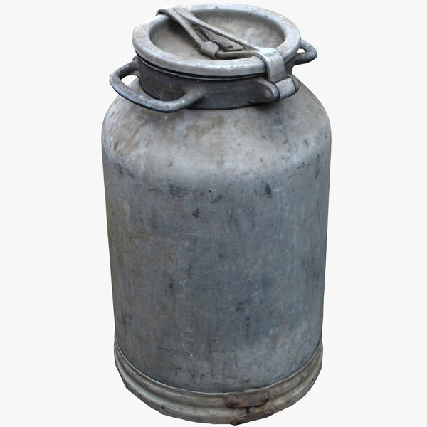 3D old aluminum flask