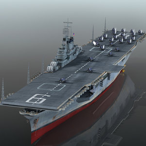 3D uss essex cv-9 cv model
