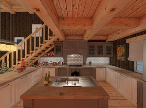 norwegian cozy cabin interior house 3D